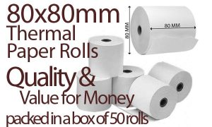 80x80 Thermal Paper - x50 Roll Box