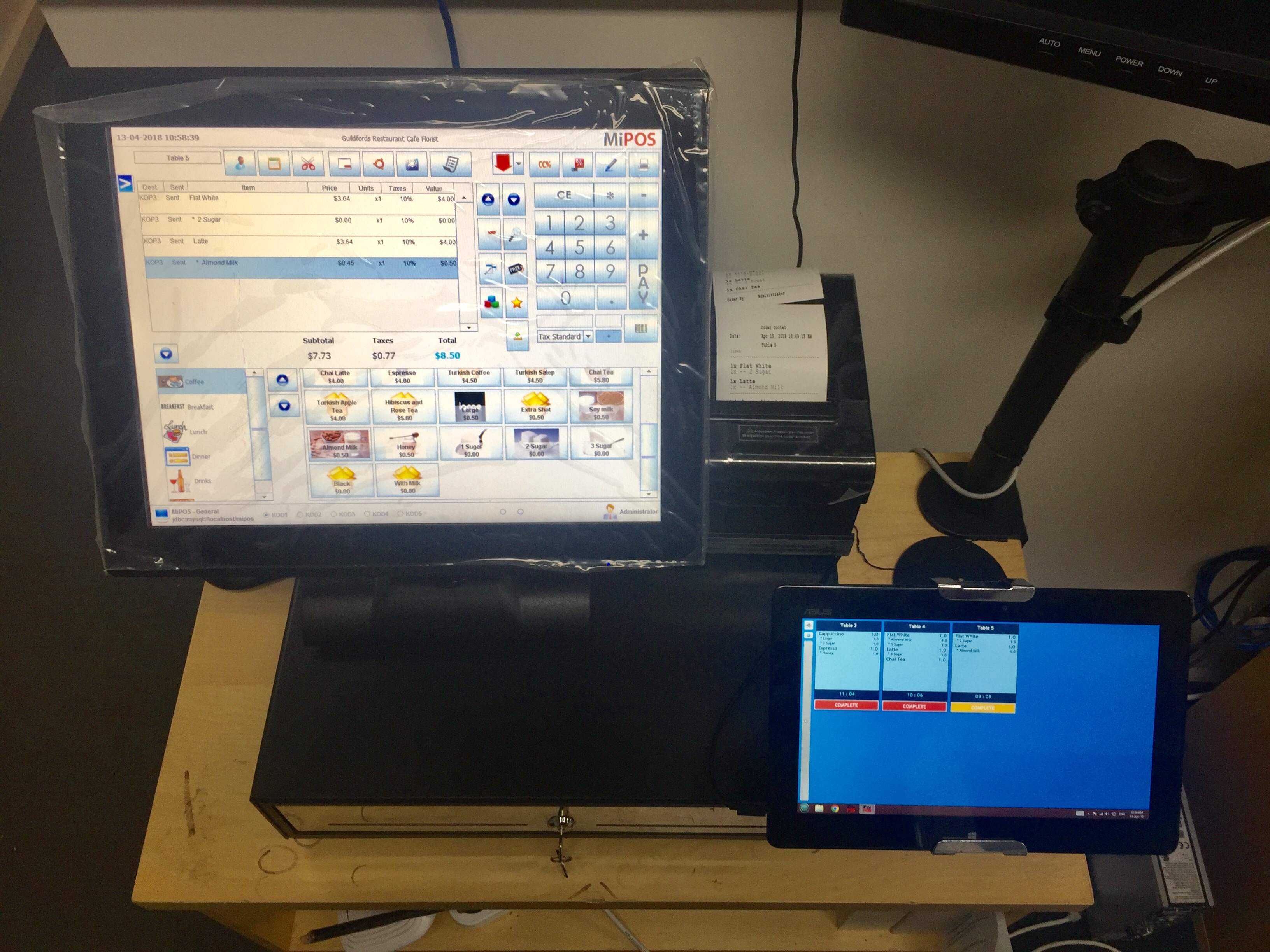 MiPOS Cafe POS System with Bump Screen