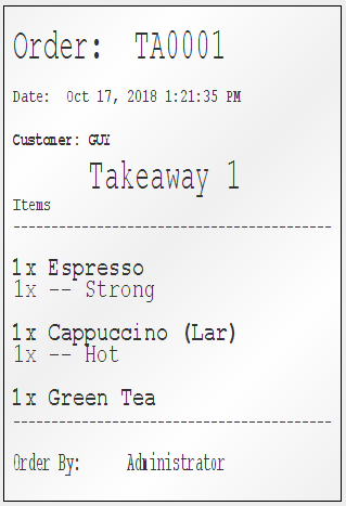 Cafe POS System – Coffee Order Docket Print