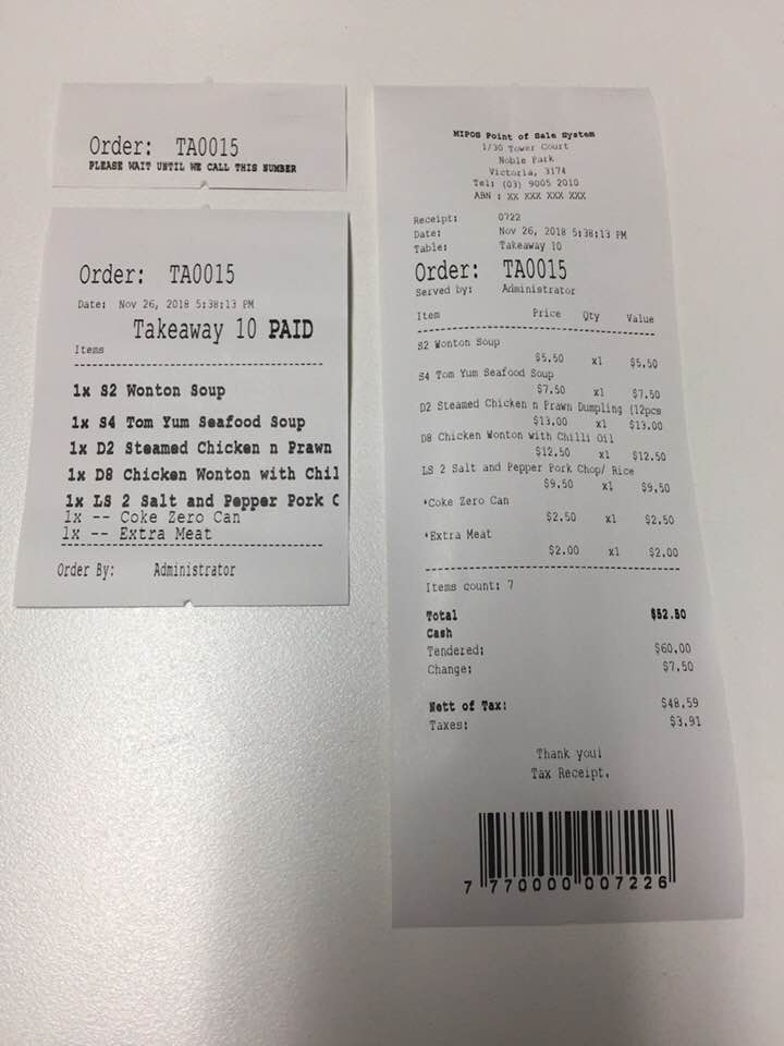 Customer Number - Order Docket - Receipt - Paid Cash